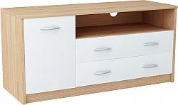 MARK 029 TV stolík s policami a zásuvkami, dub sonoma/biela