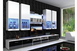 NajlacnejsiNabytok ALFA2, štýlová obývačka biela/čierna lesk