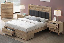 NajlacnejsiNabytok ALPENHOF 180 drevená manželská posteľ, dub Cadberry