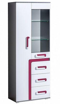NajlacnejsiNabytok APETITO vysoká skrinka so sklom A15, ružová