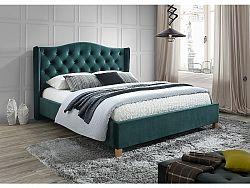 NajlacnejsiNabytok ASPEN čalúnená posteľ 160x200 cm, zelený zamat