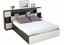 NajlacnejsiNabytok BASYA manželská posteľ zo záhlavím KP-552, dub belfort/wenge