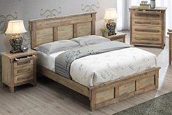 NajlacnejsiNabytok BERGEN drevená manželská posteľ, dub Cadberry