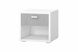 NajlacnejsiNabytok BOTA 22 nočný stolík, biela, betón Colorado