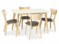 NajlacnejsiNabytok COMBO jedálenský stôl, dub bielený/biela