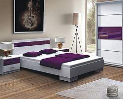 NajlacnejsiNabytok Dubaj posteľ 160x200, biela/fialová