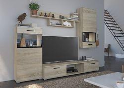 NajlacnejsiNabytok Jednoduchá obývacia stena BLUES dub sonoma