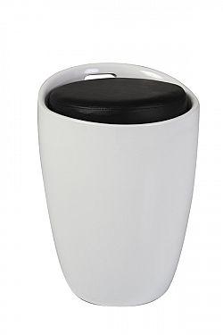 NajlacnejsiNabytok JIM taburetka s úložným priestorom, čierno-biela