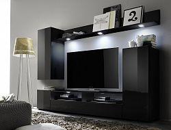 NajlacnejsiNabytok LINE 1 obývacia stena, čierna + čierny lesk