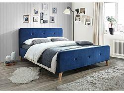 NajlacnejsiNabytok MALMO čalúnená posteľ 160x200 cm, tmavomodrý zamat