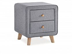 NajlacnejsiNabytok MALMO čalúnený nočný stolík, šedý