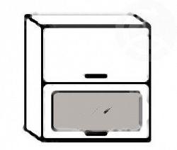 NajlacnejsiNabytok MERKURY dvojitá výklopná skrinka s dvierkami a sklom W60OK SP