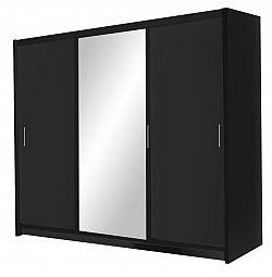 NajlacnejsiNabytok Monako 250 skriňa s posuvnými dverami, čierna