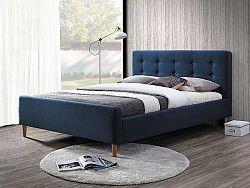 NajlacnejsiNabytok PINKO čalúnená posteľ 160x200 cm, tmavomodrá