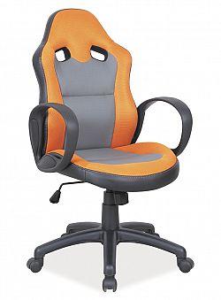 NajlacnejsiNabytok Q-054 kancelárske kreslo, šedá/oranžová