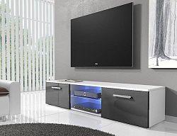NajlacnejsiNabytok RTV 3 televízny stolík, biela/čierny lesk