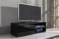 NajlacnejsiNabytok RTV stolík 102120, čierna/čierny lesk