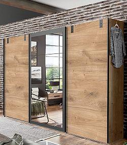 NajlacnejsiNabytok Skriňa MALMÖ 796 s posuvnými dverami a zrkadlom dub planked
