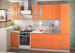 NajlacnejsiNabytok TECHNO kuchynská linka 220 cm, orange metalic/biely korpus
