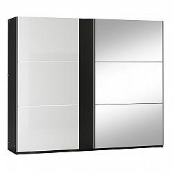NajlacnejsiNabytok TUNIS 250 skriňa s posuvnými dverami, čierna/biely lesk