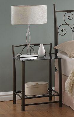 NajlacnejsiNabytok VD-930 kovový nočný stolík, čierny