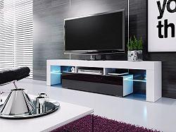 NajlacnejsiNabytok VERA 190 televízny stolík, biela/čierny lesk