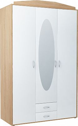 Skriňa GREACE so zrkadlom, dub sonoma/biela
