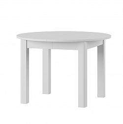 URAN 1 okrúhly jedálenský stôl s rozkladom, biela