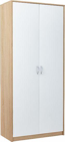 VIKA 2D 2-dverová skriňa s vešiakovou tyčou, dub sonoma/biela