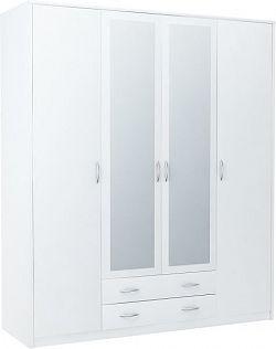VIKA 4D 4-dverová skriňa so zrkadlom, biela