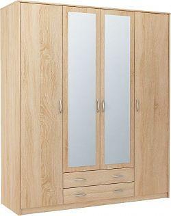 VIKA 4D 4-dverová skriňa so zrkadlom, dub sonoma