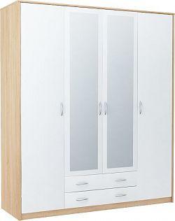 VIKA 4D 4-dverová skriňa so zrkadlom, dub sonoma/biela