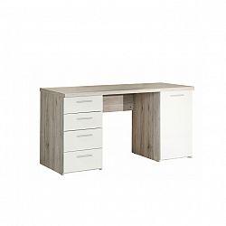 PC stôl, dub pieskový/biela, VALERIA