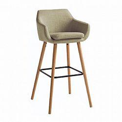 Barová stolička, béžová látka/buk, TAHIRA