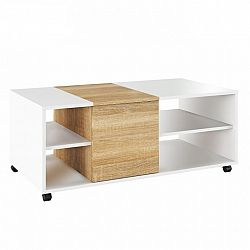 Konferenčný stolík, biely/dub sonoma, DELIMARO