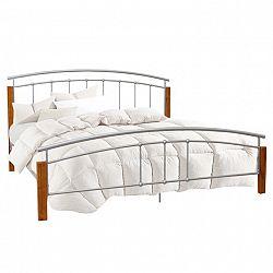 Manželská posteľ, drevo jelša/strieborný kov, 180x200, MIRELA