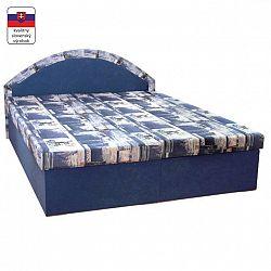 Manželská posteľ, molitánová, modrá/vzor, EDVIN 7