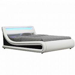 Manželská posteľ s RGB LED osvetlením, biela/čierna, 160x200, MANILA NEW