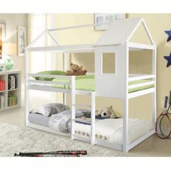 Montessori poschodová posteľ, biela, 90x200, ATRISA