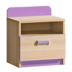 Nočný stolík, jaseň/fialový, EGO L12