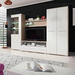 Obývacia stena, dub sonoma/biela matná, FREDO