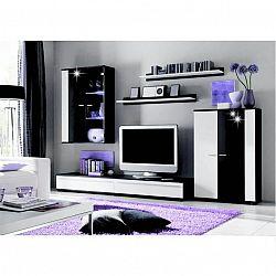 Obývacia stena, s LED osvetlením, biela/čierna extra vysoký lesk HG, CANES NEW