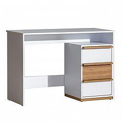 PC stôl, orech select/biela, KNOX E14
