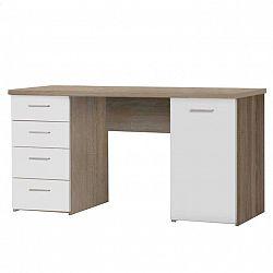 Písací stôl, dub sonoma/biela, EUSTACH