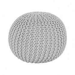 Pletený taburet, smotanová (biely melír) bavlna, GOBI TYP 2