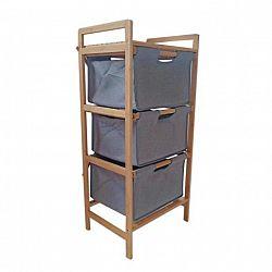 Regál, lakovaný bambus/látka sivá, REGISA TYP 1