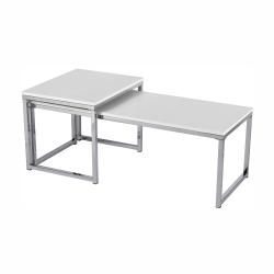 Set 2 konferenčných stolíkov, biela matná/chróm, MAGNO TYP 2