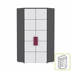 Skriňa rohová kombinovaná, sivá/biela/fialová, LOBETE 89