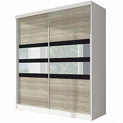 Skriňa s posuvnými dverami, dub sonoma/biela/čierne sklo, 183x218, MULTI 10