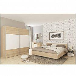 Spálňový komplet (posteľ 180x200 cm), dub sonoma/biela, GABRIELA